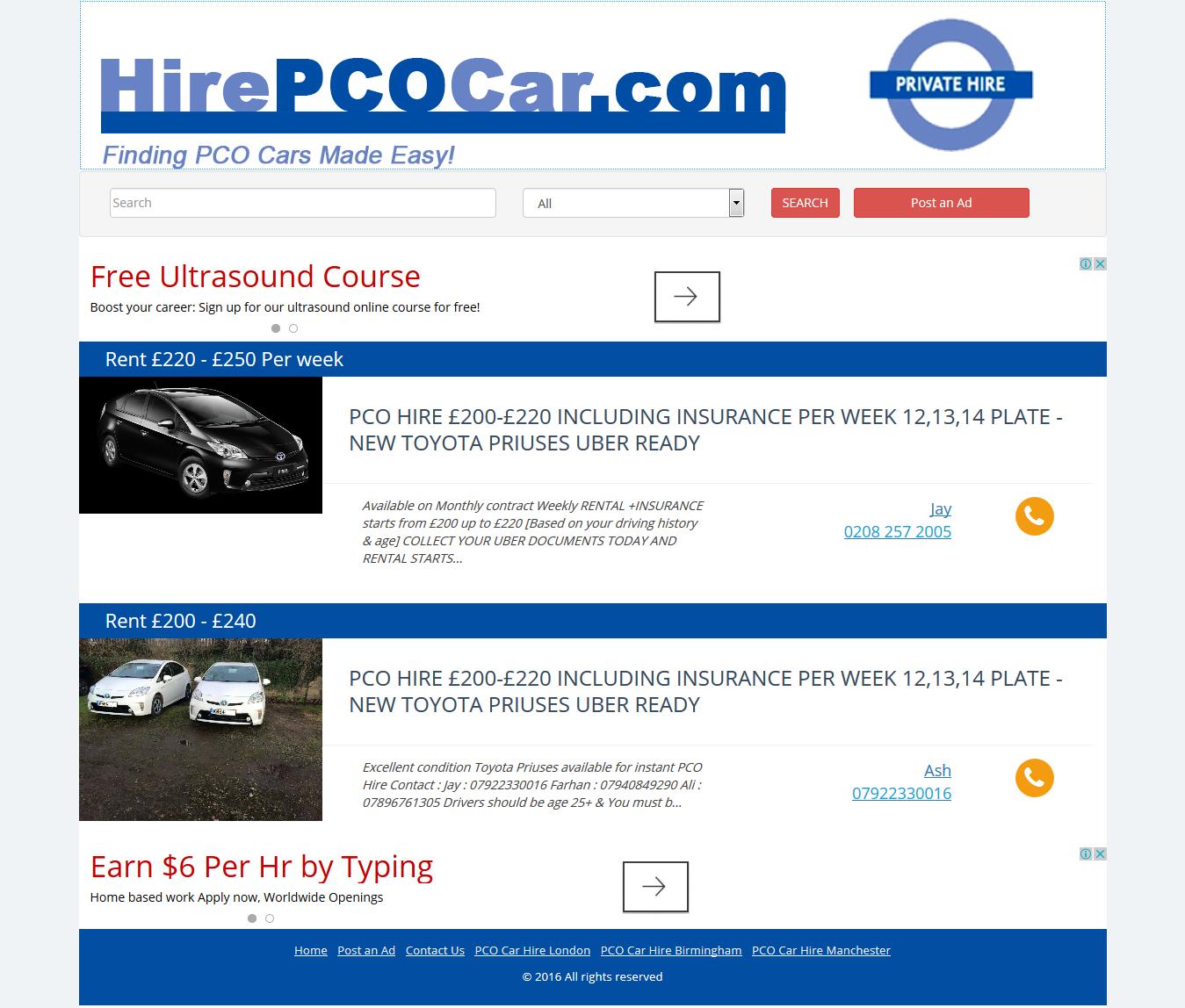 PCO Car Hire - Rent PCO Cars